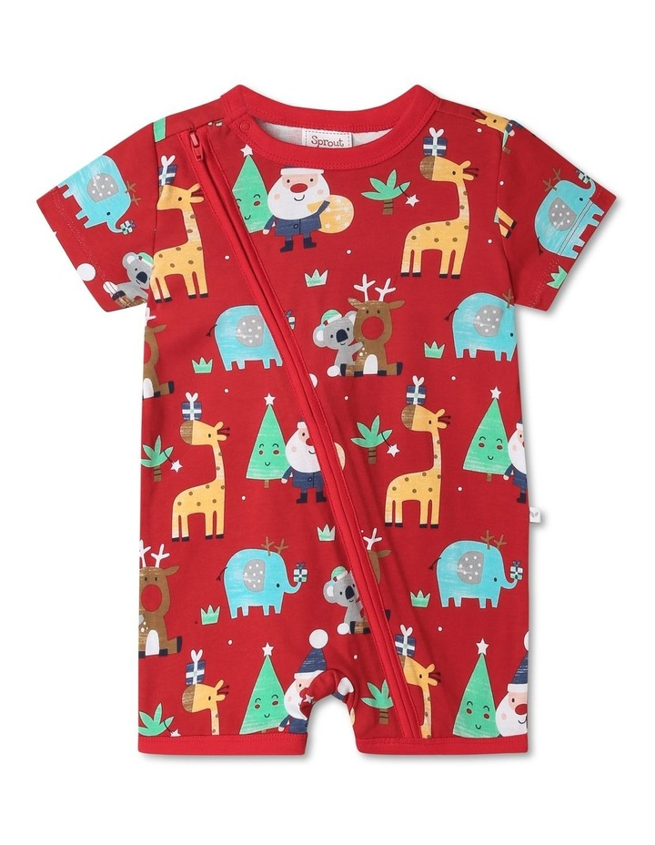 Sprout Animals Red Christmas Onesie image 1
