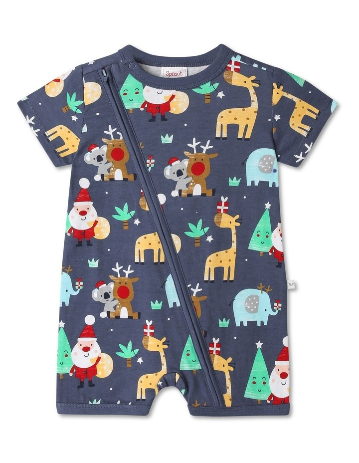 Sprout Animals Navy Christmas Onesie image 1