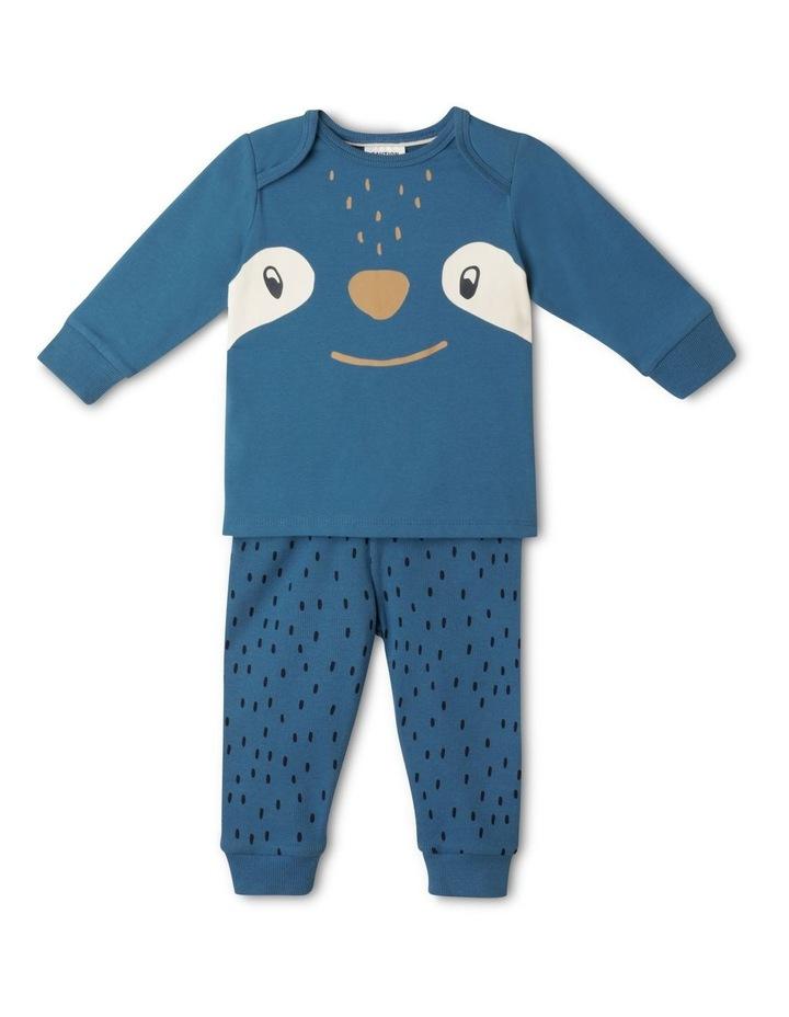 Enzo Sloth Blue Organic Cotton Pyjamas Set image 1