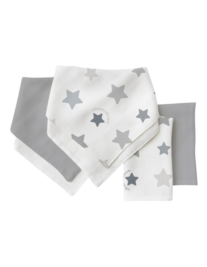 Bamboo Bib/Washer Multipack - Stars Grey image 1