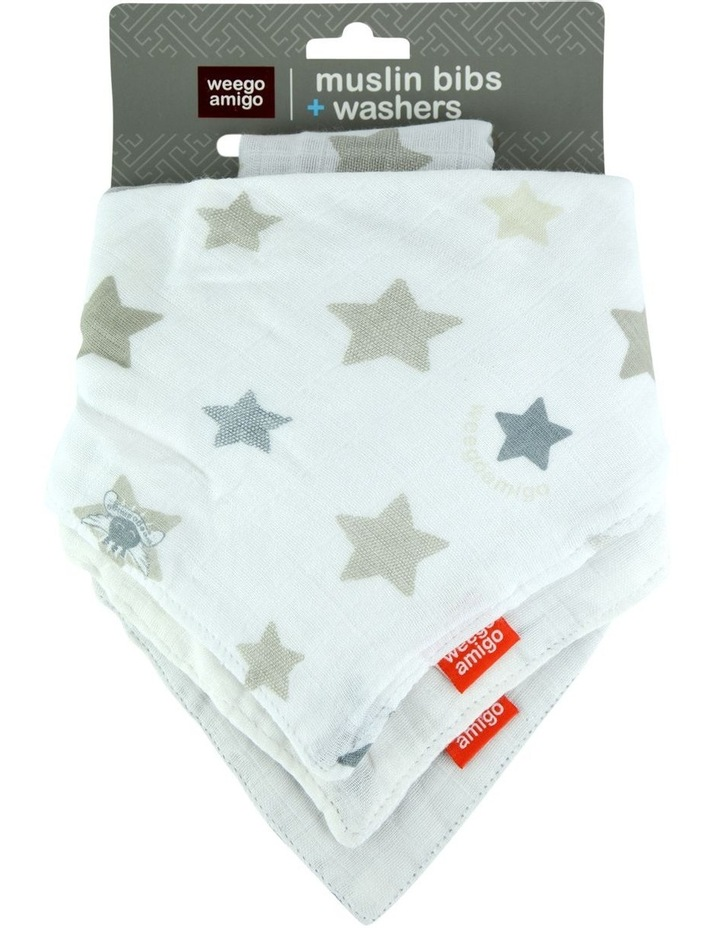 Bamboo Bib/Washer Multipack - Stars Grey image 2