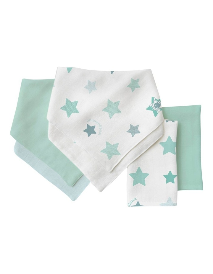 Bamboo Bib/Washer Multipack - Stars Mint image 1