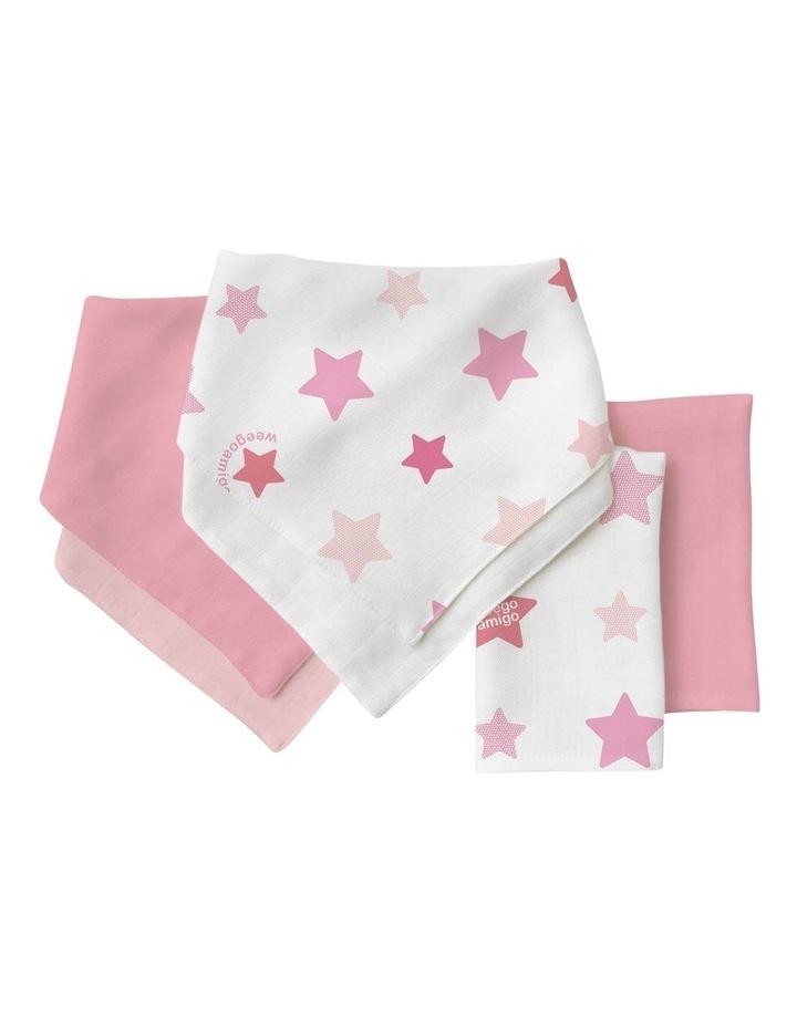 Bamboo Bib/Washer Multipack - Stars Pink image 1