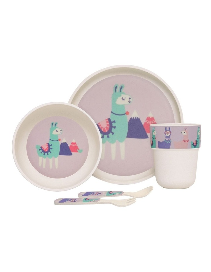 Bamboo Meal Set with Cutlery Loopy Llama image 1