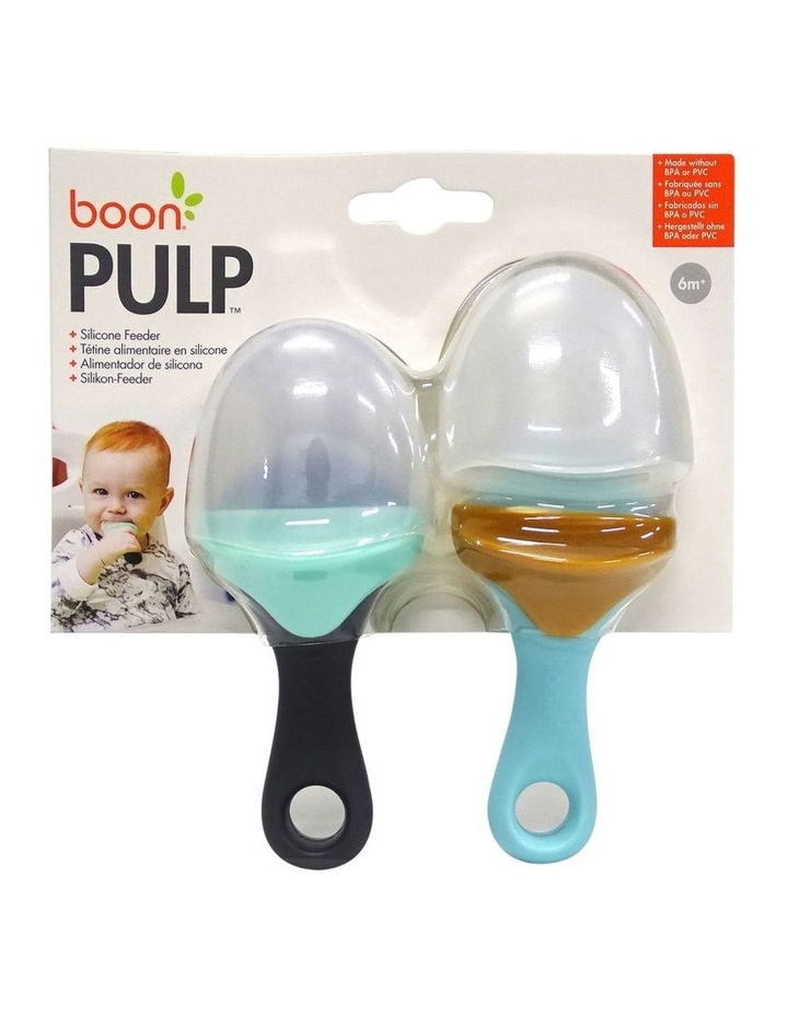 Boon Pulp Silicone Feeder 2 Pack Orange/Blue and Lime Green/Dark Green image 3