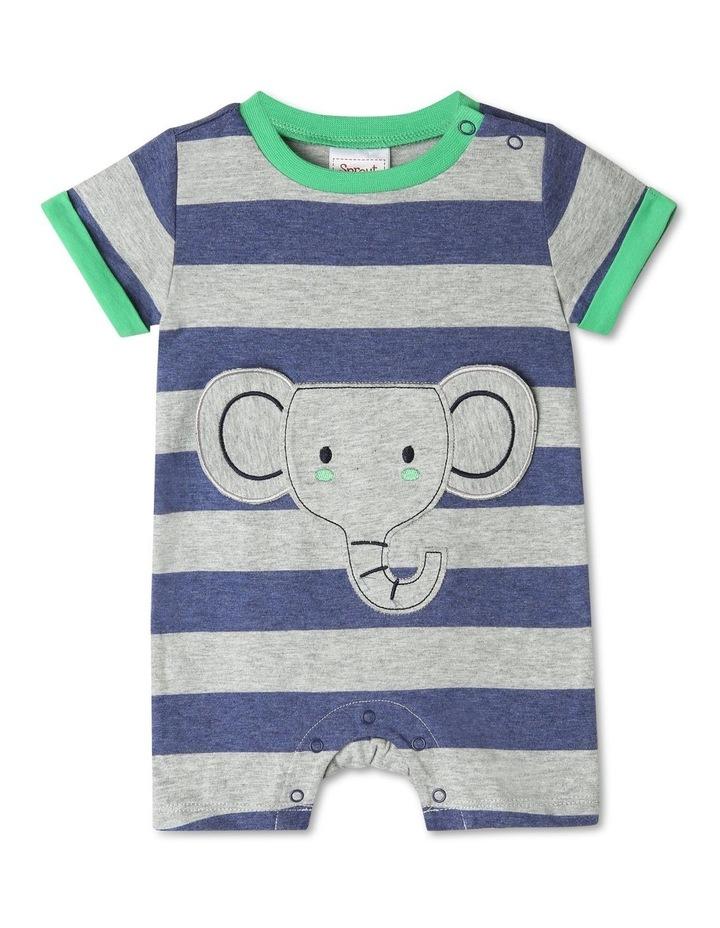 Short Sleeve Stripe Elephant Pocket Romper image 1
