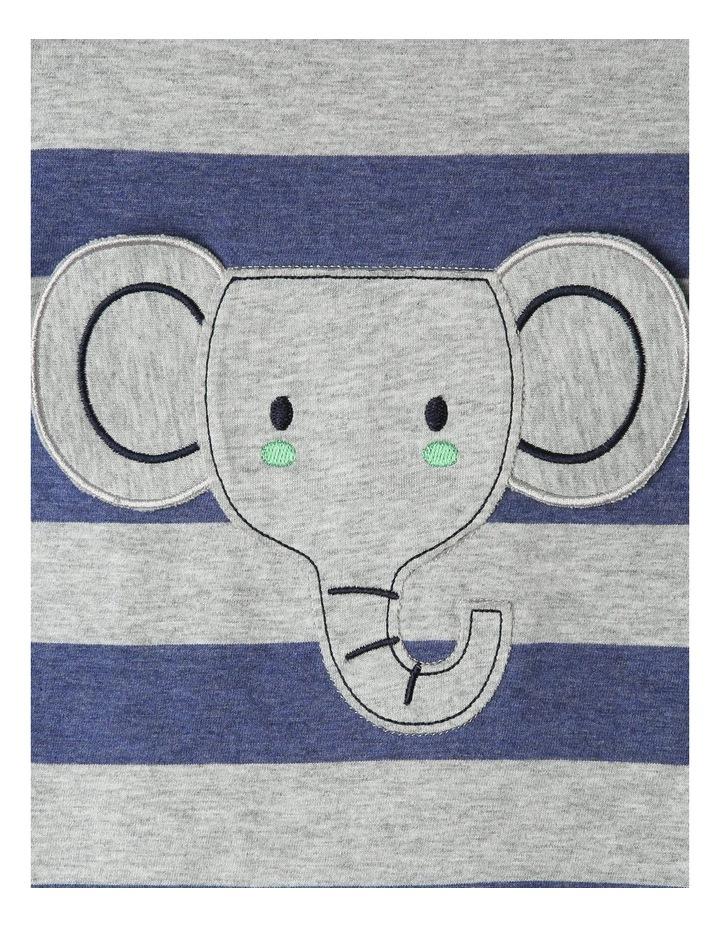 Short Sleeve Stripe Elephant Pocket Romper image 4
