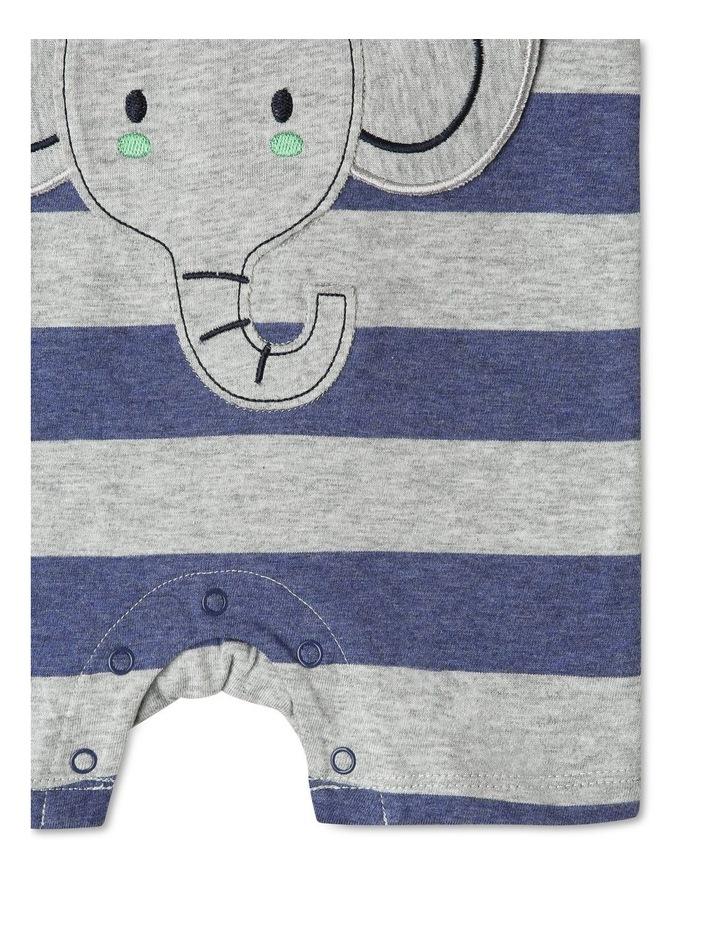 Short Sleeve Stripe Elephant Pocket Romper image 5