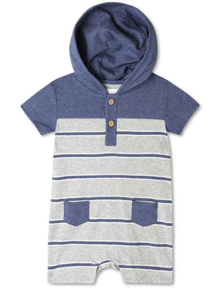 Hooded Henley Yarn Dye Stripe Romper image 1