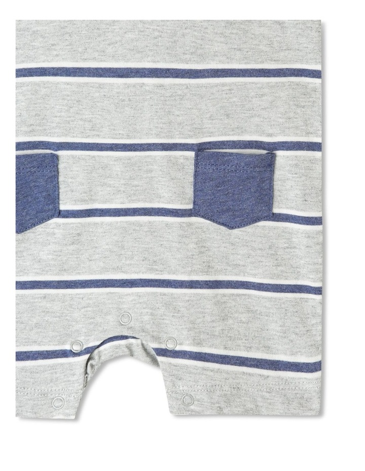 Hooded Henley Yarn Dye Stripe Romper image 4
