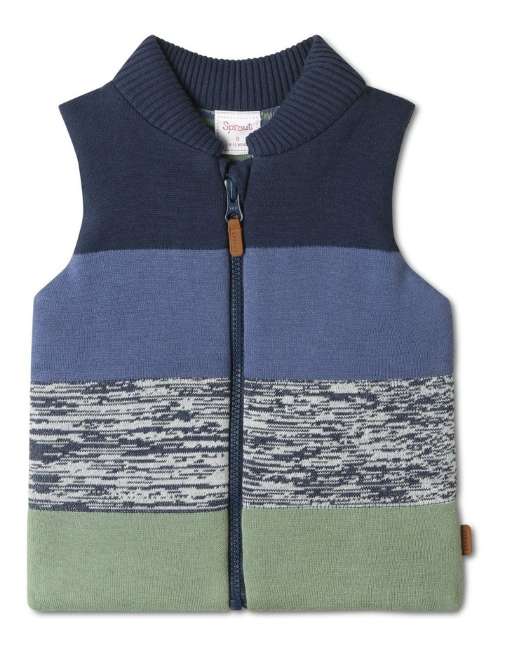 Theo Navy Knit Puffer Vest image 1