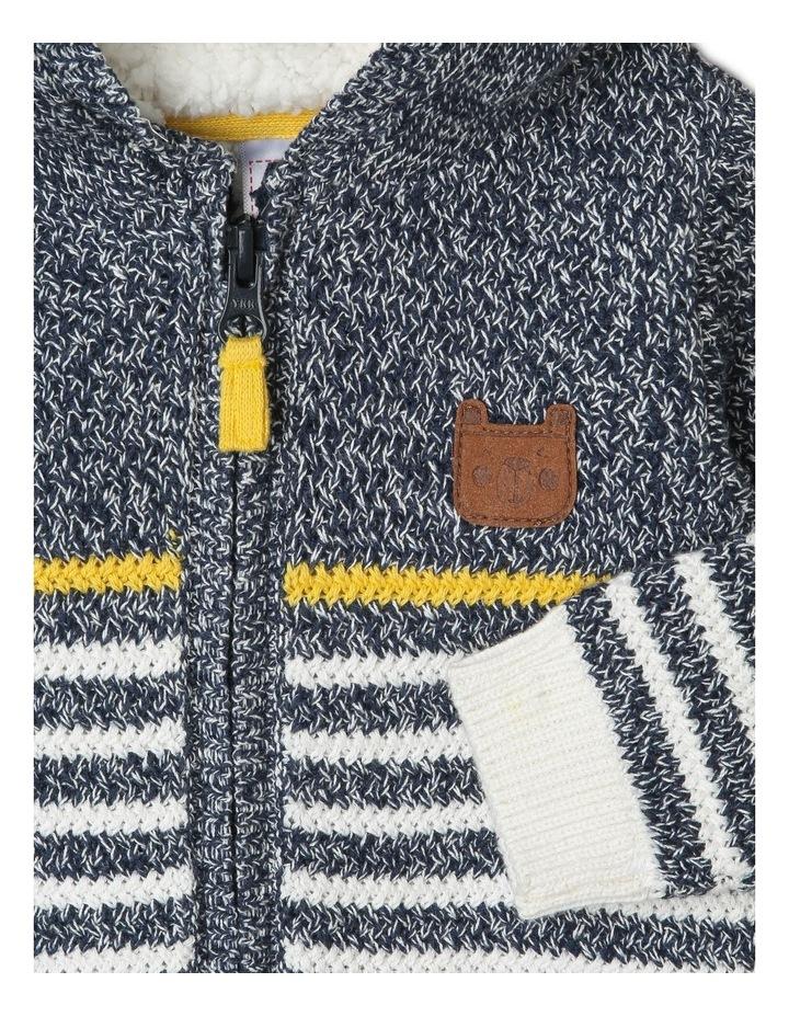 Zip-Thru Stripe Knit Hoodie image 2