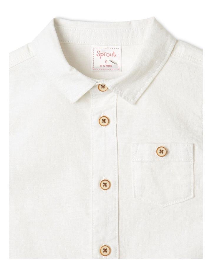 Linen Woven Short Sleeve Shirt White image 2