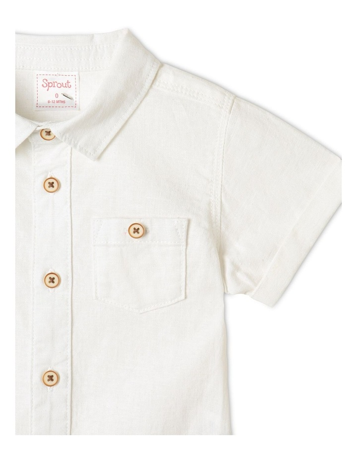 Linen Woven Short Sleeve Shirt White image 3