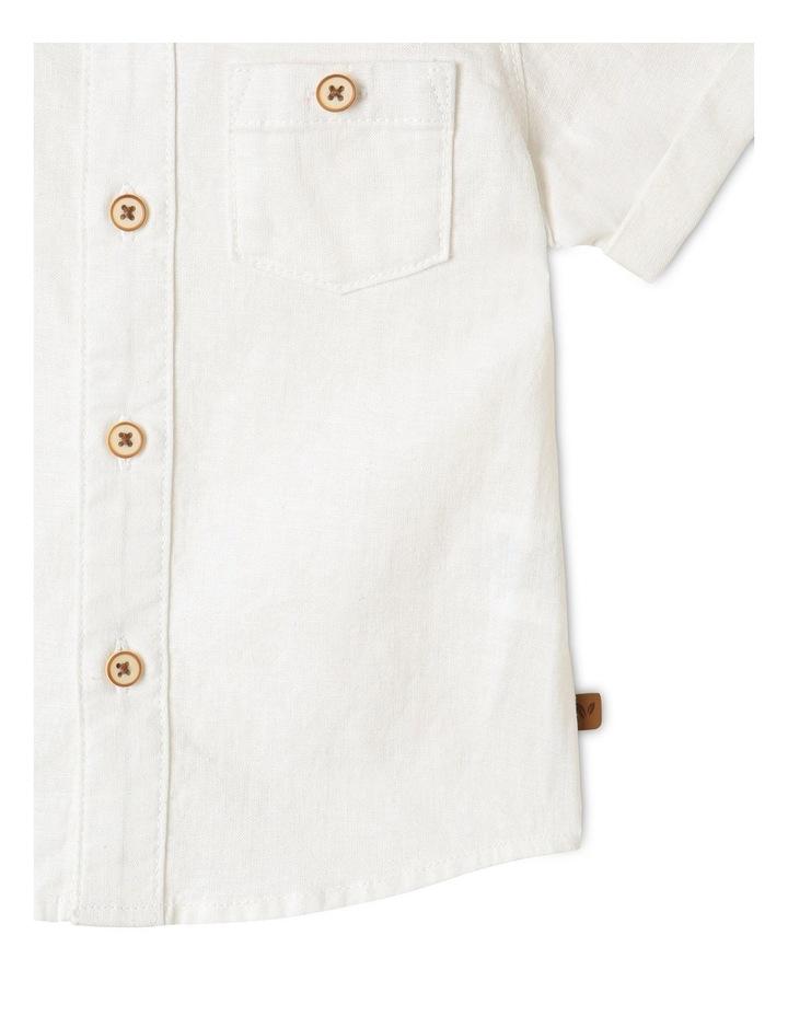 Linen Woven Short Sleeve Shirt White image 4