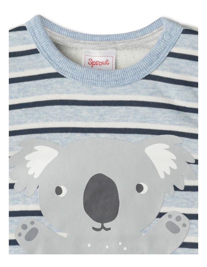 Organic Essential Koala Stripe Crew Neck Sweat Top Light Blue image 2