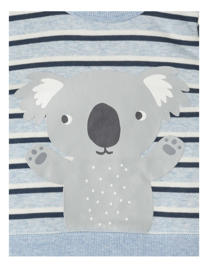 Organic Essential Koala Stripe Crew Neck Sweat Top Light Blue image 3