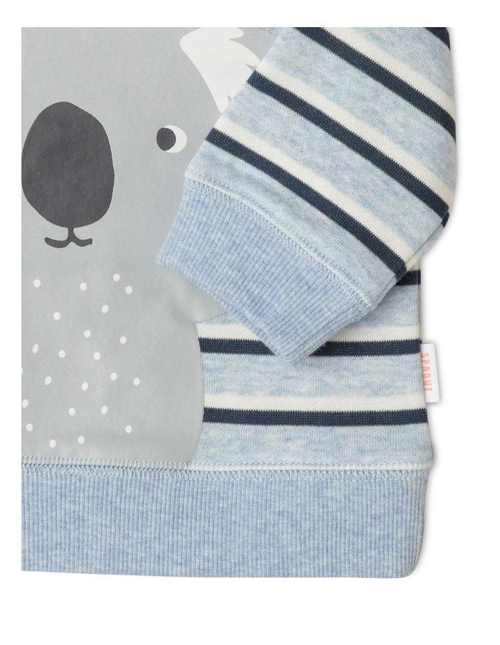 Organic Essential Koala Stripe Crew Neck Sweat Top Light Blue image 4