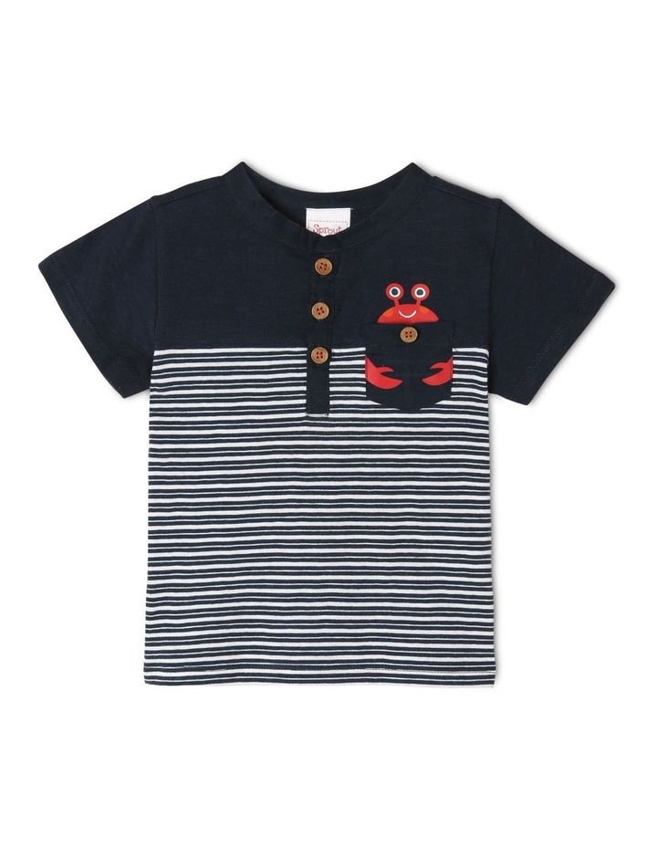 Henley T-Shirt with Spliced Panel Stripe & Woven Pocket - Stripe/Navy image 1