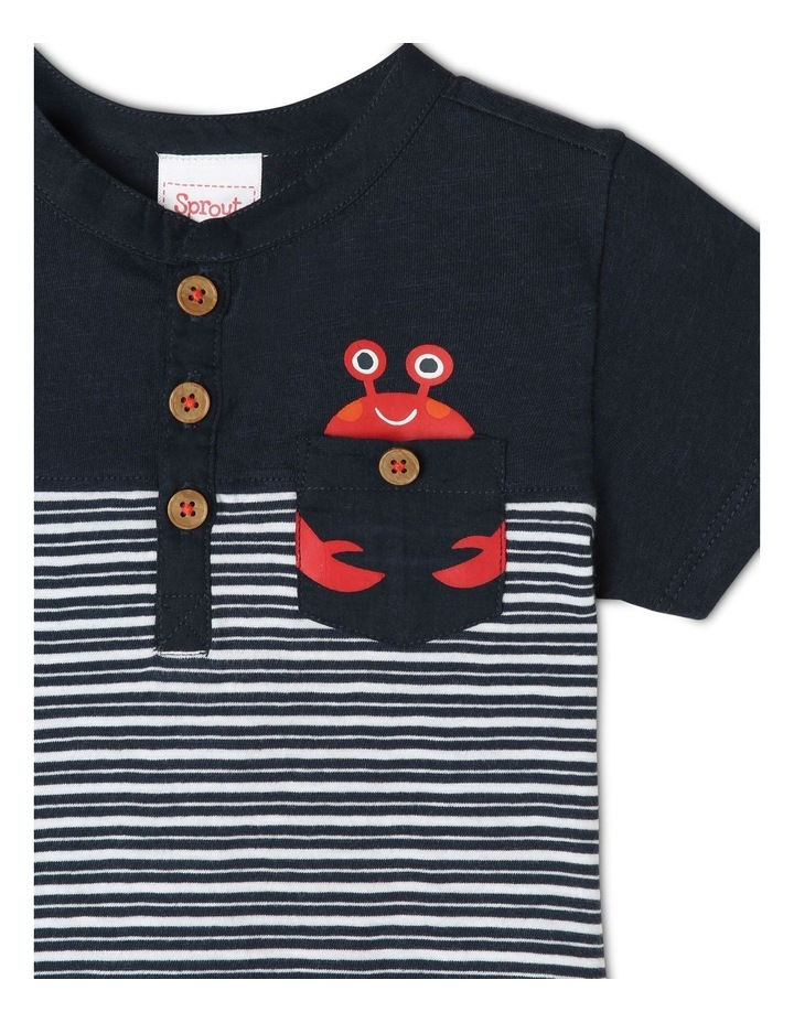 Henley T-Shirt with Spliced Panel Stripe & Woven Pocket - Stripe/Navy image 2