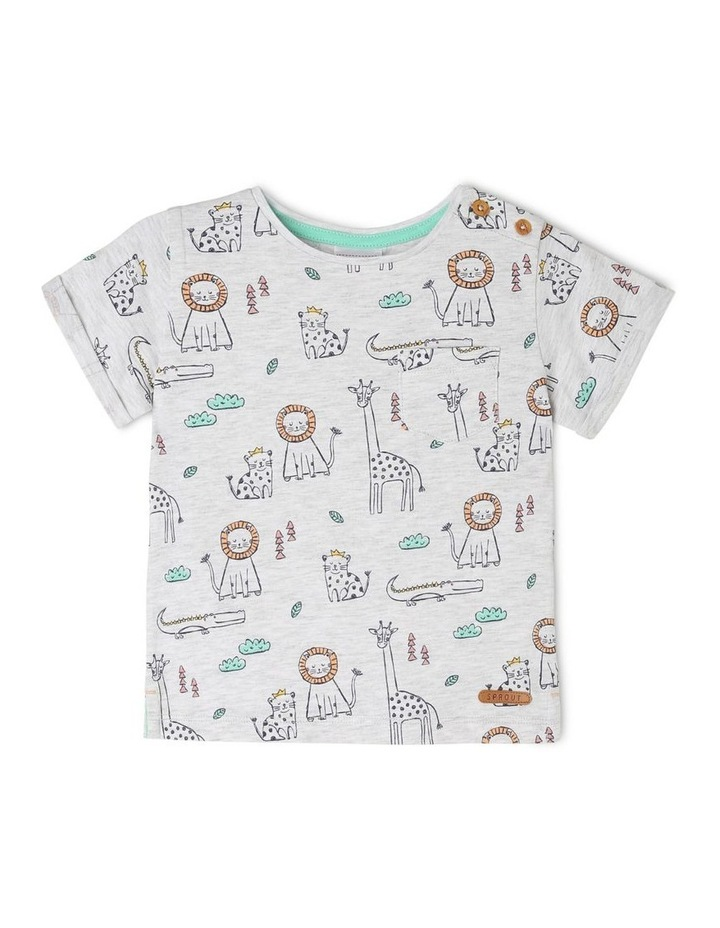 Short-Sleeve T-Shirt with AOP & Chest Pocket - Animal AOP/White image 1