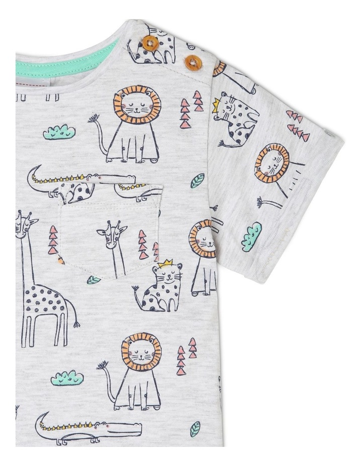 Short-Sleeve T-Shirt with AOP & Chest Pocket - Animal AOP/White image 2