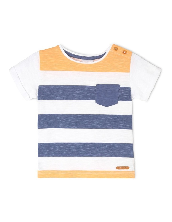 Short-Sleeve T-Shirt with Block Stripe - Block Stripe/White image 1