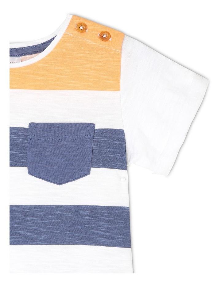 Short-Sleeve T-Shirt with Block Stripe - Block Stripe/White image 2