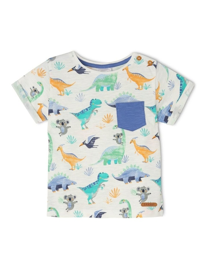 Short-Sleeve T-Shirt with AOP & Chest Pocket - Dino AOP/Grey image 1