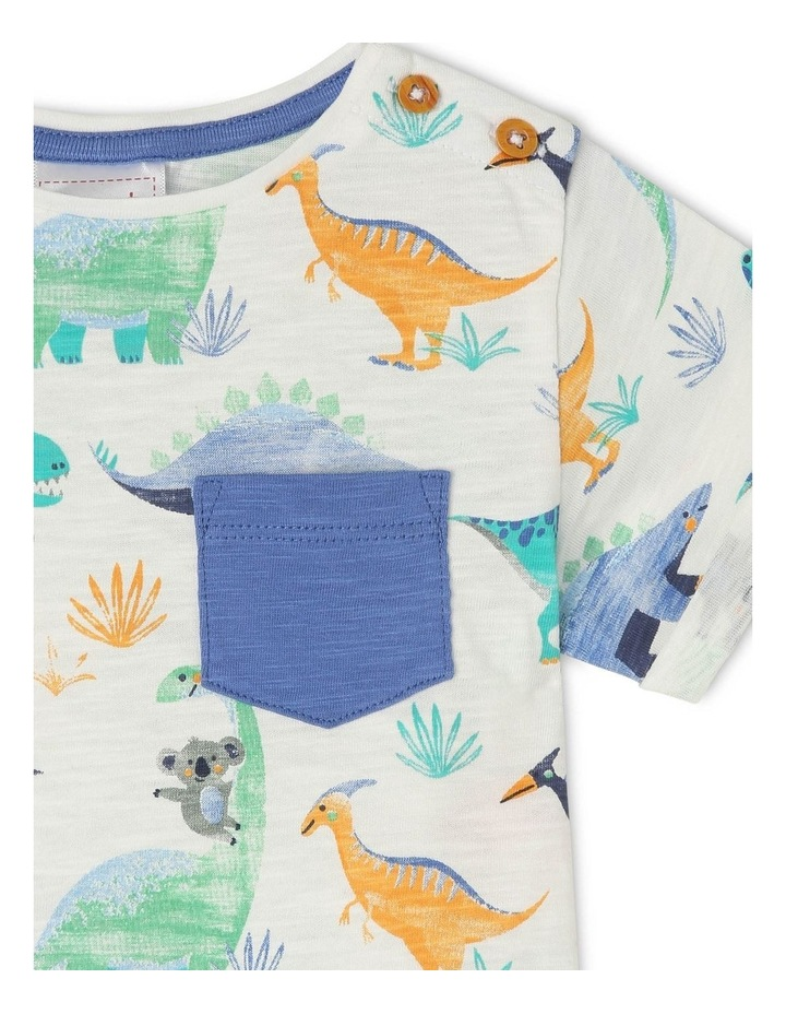 Short-Sleeve T-Shirt with AOP & Chest Pocket - Dino AOP/Grey image 2