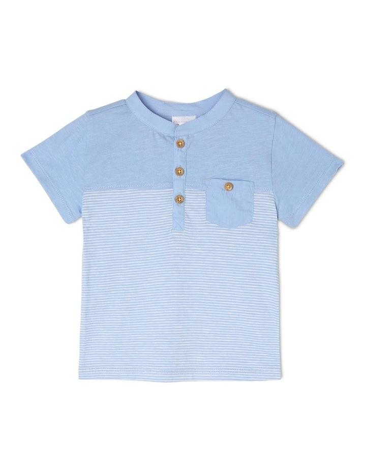 Spliced Patch Pocket T-Shirt - Blue image 1