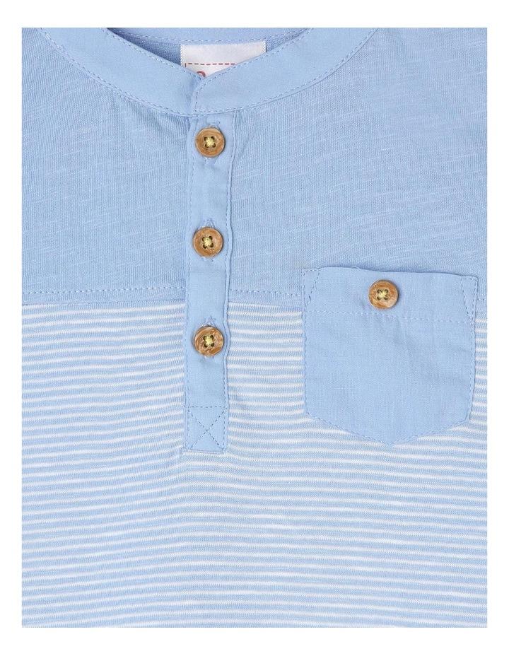 Spliced Patch Pocket T-Shirt - Blue image 2