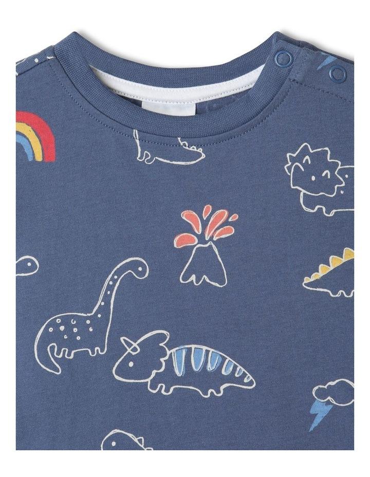 Essential Sketchy Dino Mid T-Shirt Blue image 2