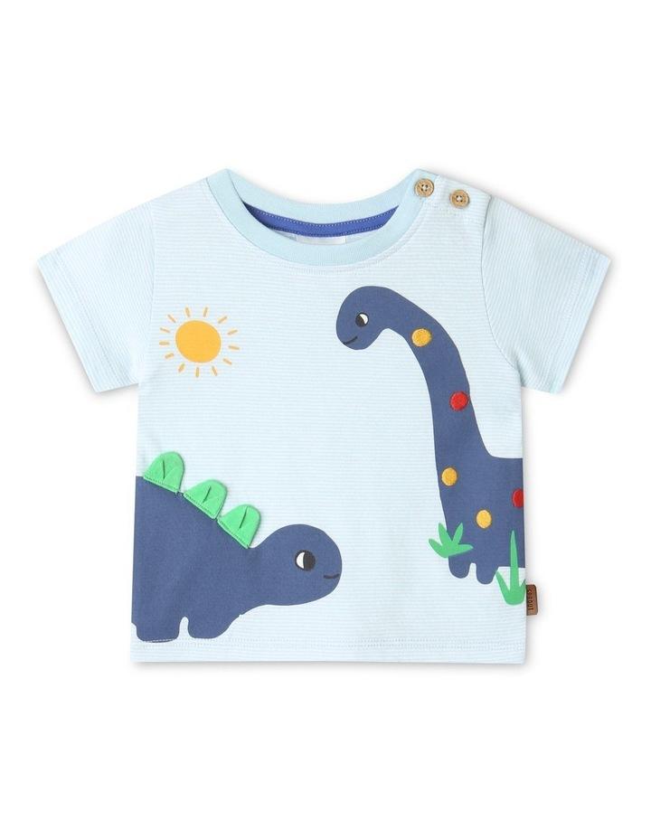 Dino Stripe T-Shirt Light Blue image 1