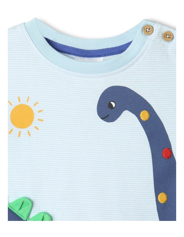 Dino Stripe T-Shirt Light Blue image 3