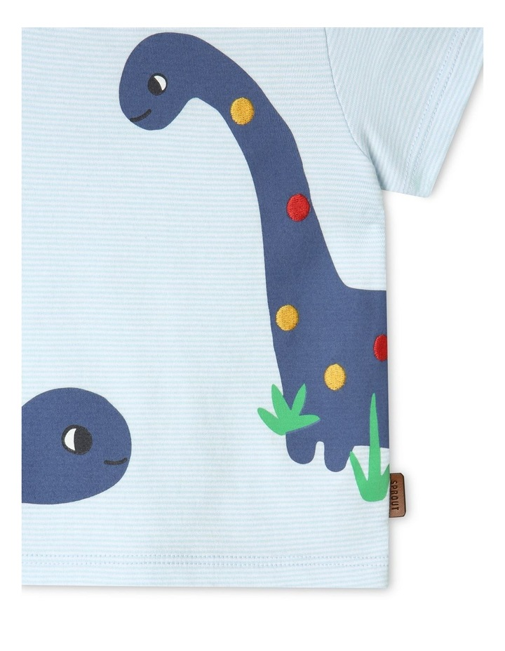 Dino Stripe T-Shirt Light Blue image 5