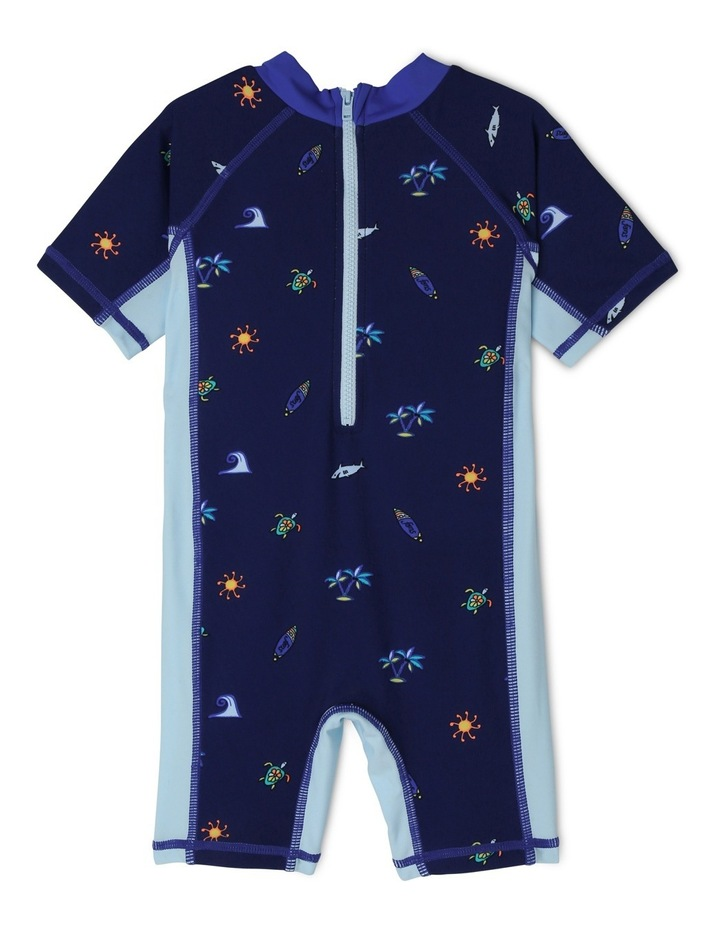 Boys Short Sleeve Swimsuit - Tropical AOP image 2