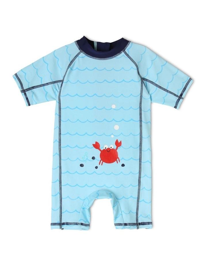 Short-Sleeve Swimsuit - Crab Emblem/Blue image 1