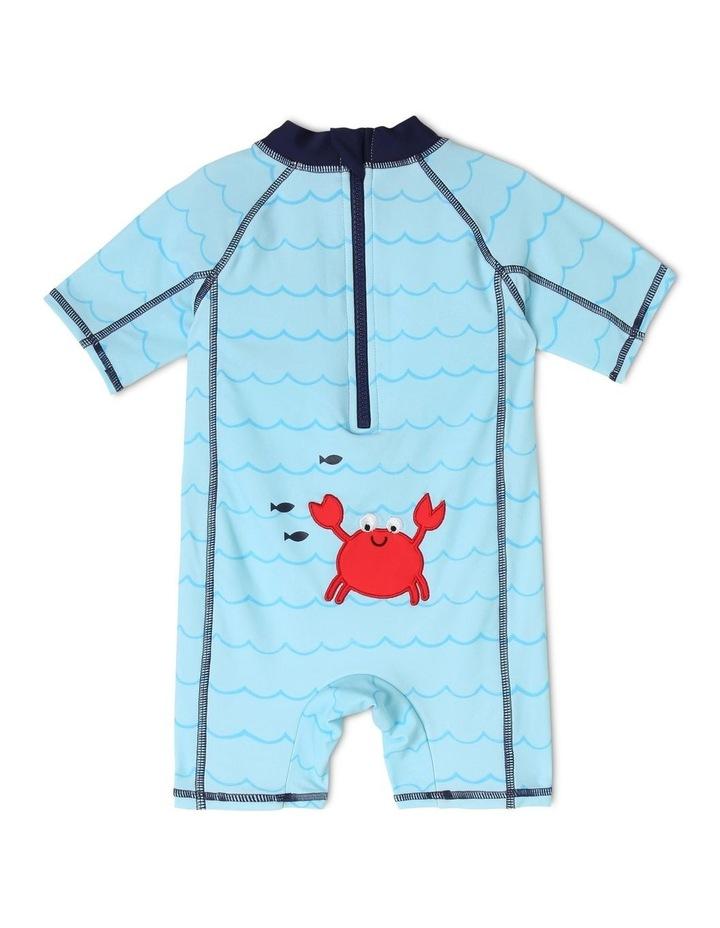 Short-Sleeve Swimsuit - Crab Emblem/Blue image 2