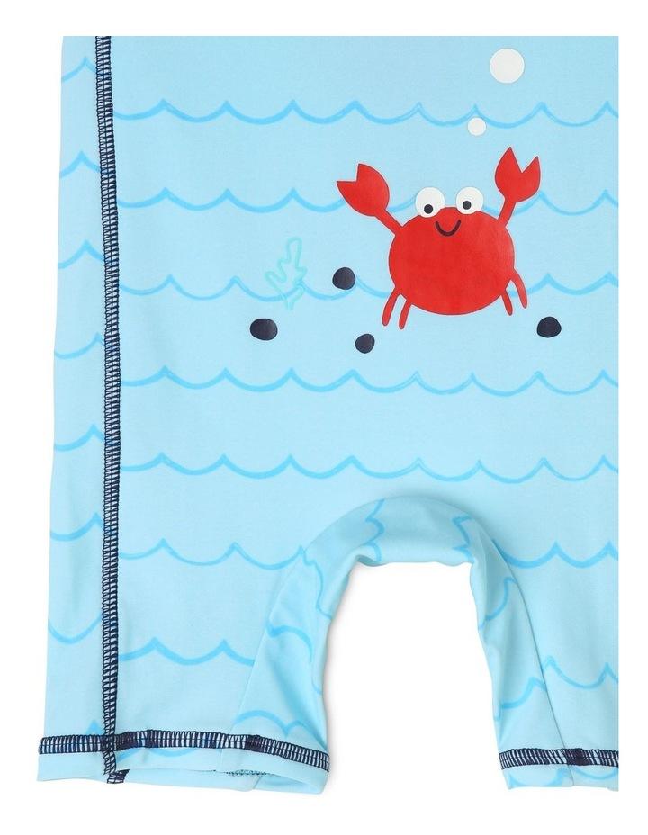 Short-Sleeve Swimsuit - Crab Emblem/Blue image 3
