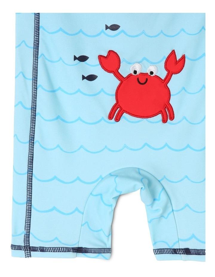 Short-Sleeve Swimsuit - Crab Emblem/Blue image 4