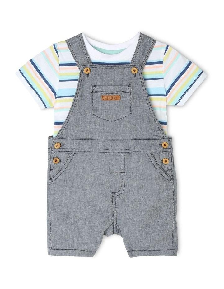 Chambray Woven T-Shirt & Overalls Set image 1