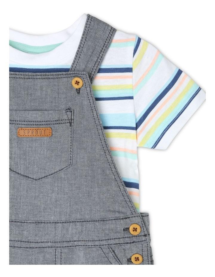 Chambray Woven T-Shirt & Overalls Set image 3