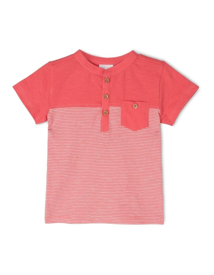Spliced Patch Pocket T-Shirt - Red image 1