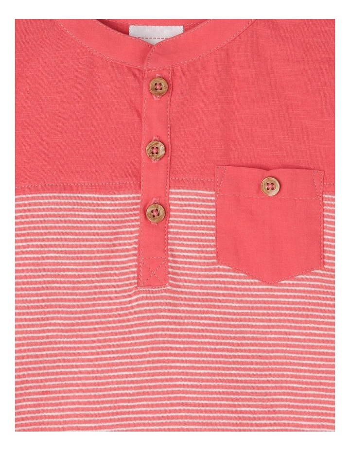 Spliced Patch Pocket T-Shirt - Red image 2