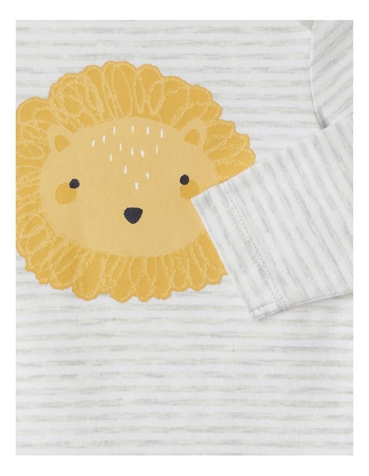 Organic Essential Stripe Lion Face Bodysuit image 2