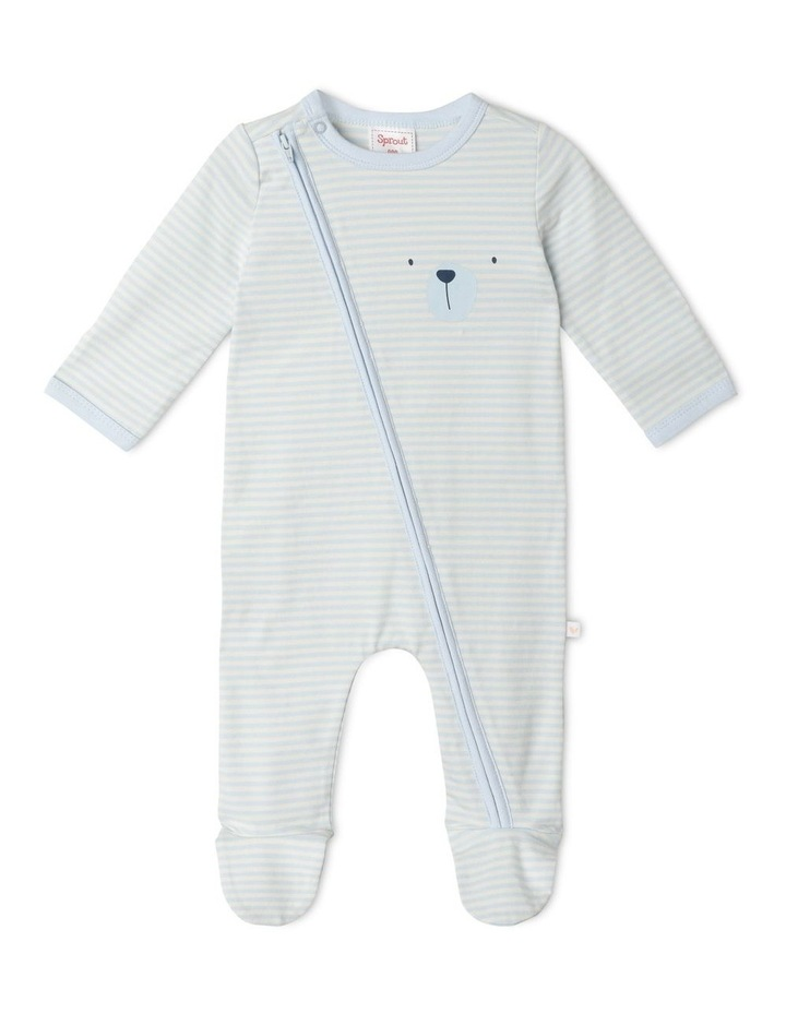 Organic Essential Bear Face Stripe Coverall image 1