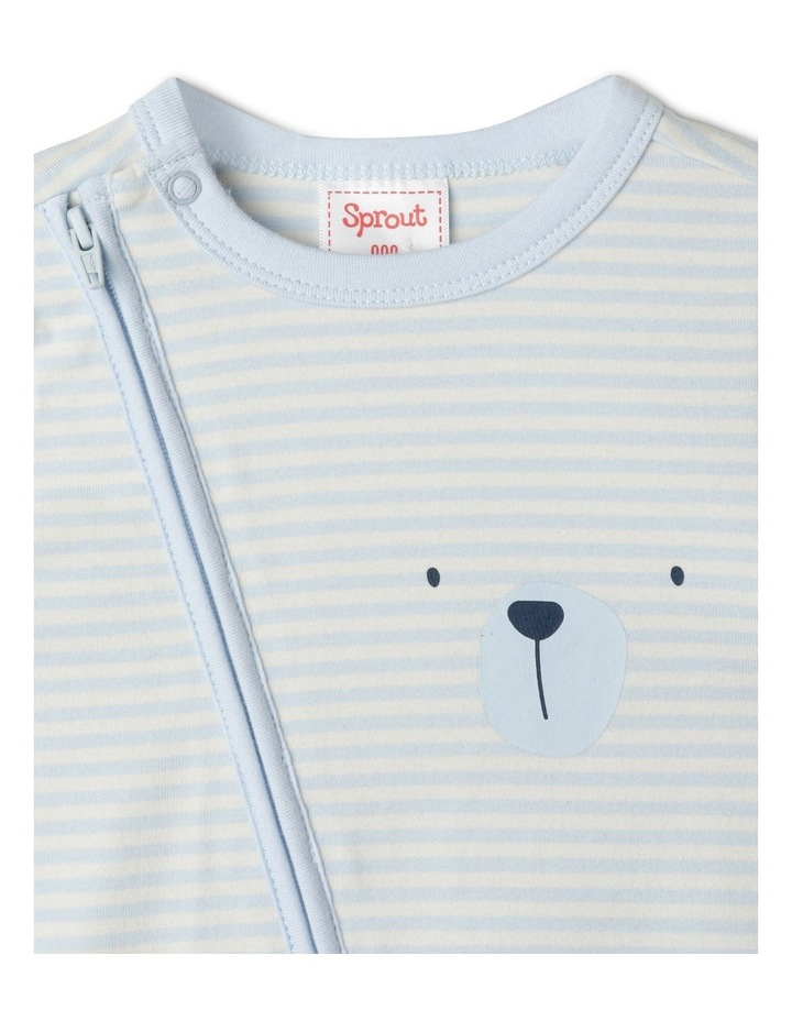 Organic Essential Bear Face Stripe Coverall image 2
