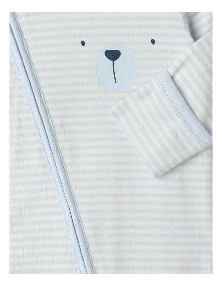 Organic Essential Bear Face Stripe Coverall image 3