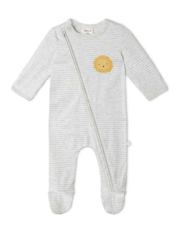 Organic Essential Stripe Lion Face Coverall image 1